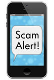 Scam Alert. Mobile Phone with words  in Text Bubble isolated on a white background vector illustration