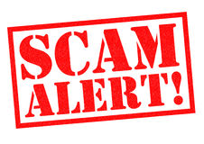 SCAM ALERT!. Red Rubber Stamp over a white background royalty free illustration