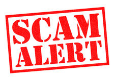 SCAM ALERT. Red Rubber Stamp over a white background royalty free illustration