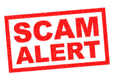 SCAM ALERT. Red Rubber Stamp over a white background stock illustration