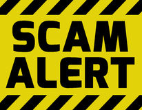 Scam alert sign yellow vector illustration