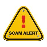 Scam alert triangle sign Stock Image
