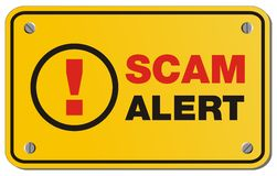 Scam alert yellow sign - rectangle sign. Suitable for alert sign Stock Photos