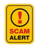 Scam alert yellow sign. Scam alert suitable for alert signs stock illustration