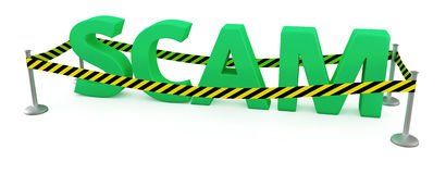 Scam area. Word SCAM fenced by police tape royalty free illustration
