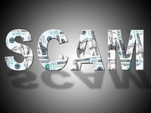 Scam Dollars Shows United States And American Stock Photo