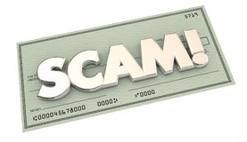 Scam Fraud Money Stealing Theft Word Check Royalty Free Stock Photography