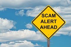 Scam-het Alarm waarschuwt vooruit Teken Stock Foto