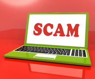Scam Laptop Shows Scheming Hoax Deceit And Fraud Online Stock Images