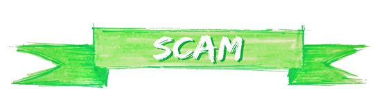 Scam ribbon. Scam hand painted ribbon sign stock illustration