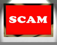 Scam Screen Shows Swindles Hoax Deceit And Fraud Stock Photo