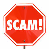 Scam Stop Sign Word Fraud Lies Deception Stock Photo