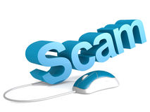 Scam word with blue mouse Stock Photos