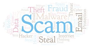 Scam word cloud. Wordcloud made with text only stock illustration