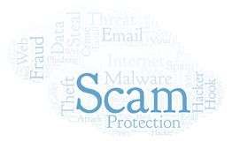 Scam word cloud. Wordcloud made with text only royalty free illustration