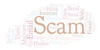 Scam word cloud. Wordcloud made with text only vector illustration