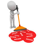 Scam. Words being wiped from the floor in red color by a little man. concept of clean up act stock illustration
