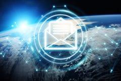 Scambi dei email sulla rappresentazione del pianeta Terra 3D Immagine Stock Libera da Diritti