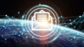 Scambi dei email sulla rappresentazione del pianeta Terra 3D Fotografia Stock Libera da Diritti