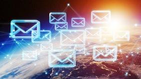 Scambi dei email sulla rappresentazione del pianeta Terra 3D Immagini Stock