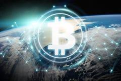Scambi di Bitcoins sulla rappresentazione del pianeta Terra 3D Immagine Stock