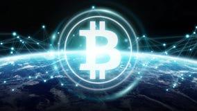 Scambi di Bitcoins sulla rappresentazione del pianeta Terra 3D Fotografie Stock