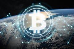 Scambi di Bitcoins sulla rappresentazione del pianeta Terra 3D Immagini Stock Libere da Diritti