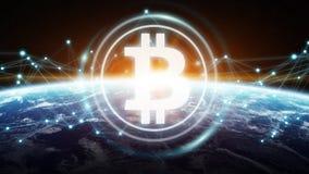 Scambi di Bitcoins sulla rappresentazione del pianeta Terra 3D Fotografia Stock Libera da Diritti
