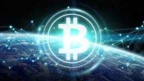 Scambi di Bitcoins sulla rappresentazione del pianeta Terra 3D Immagini Stock