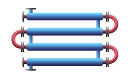 Scambiatore di calore del doppio tubo Apparato per l'elaborazione chimica Tubo-in-tubo, tubo nello scambiatore di calore della st illustrazione vettoriale