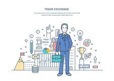 Scambio commerciale, aste, mercato dei cambi, protezione dei commerci royalty illustrazione gratis
