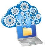 Scambio del computer portatile di dati con la nube Immagine Stock