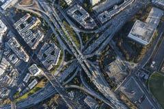 Scambio dell'autostrada senza pedaggio di Hollywood di quattro livelli a Los Angeles Calfiorn Fotografia Stock Libera da Diritti