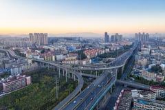 Scambio della città di Kunming nell'alba fotografia stock