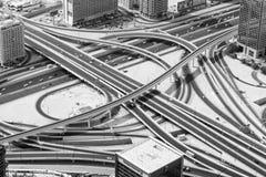 Scambio della strada del Dubai dal Burj Khalifa Immagine Stock Libera da Diritti