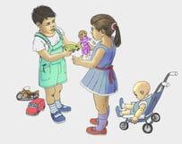 Scambio di giocattoli illustrazione vettoriale