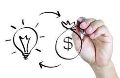 Scambio di idea del disegno della mano con il concetto dei soldi Fotografie Stock Libere da Diritti