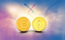 Scambio di tasso dell'euro e del dollaro Fotografia Stock