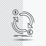 scambio, valuta, finanza, soldi, linea di convertito icona su fondo trasparente Illustrazione nera di vettore dell'icona illustrazione vettoriale