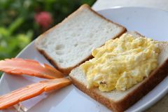 Scambled egg. Scrambled egg is a dish stirred or beaten in a pan while gently heated together typically with butter, milk, cheese, salt pepper Royalty Free Stock Photos