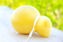 Scamorza cheese closeup dairy products Stock Images