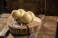 Scamorza italiano gastronomico del formaggio sul bordo di legno su fondo scuro fotografie stock libere da diritti