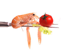 Scampi on a fork Royalty Free Stock Photography