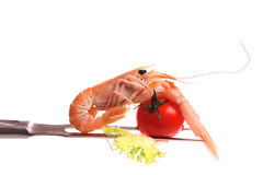 Scampi on a fork Stock Photo