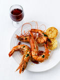 Scampi with garlic Royalty Free Stock Images