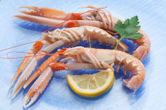 Scampi with lemon Stock Photo