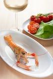Scampi på en maträtt Fotografering för Bildbyråer