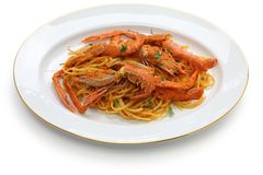 Scampi pasta Stock Photo