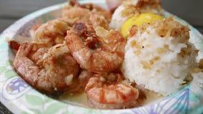 Scampi Shrimp Truck Food From Oahu Hawaii. Traditional local Hawaiian cuisine from food trucks. Oahu, Hawaii, United States stock video