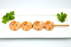 Scampi skewer Royalty Free Stock Photos